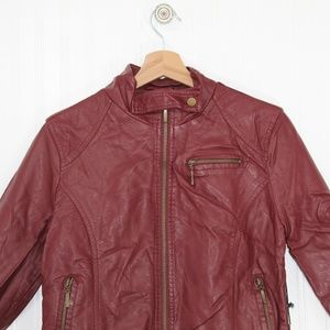 Forever 21 Burgundy Red Faux Leather Coat